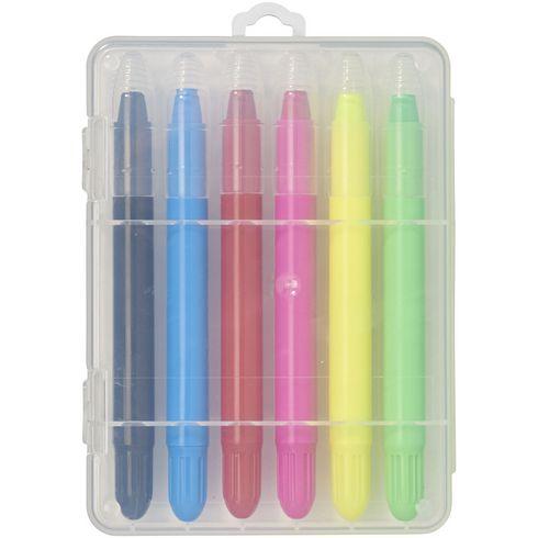 Phiz 6 retractable crayons in plastic case